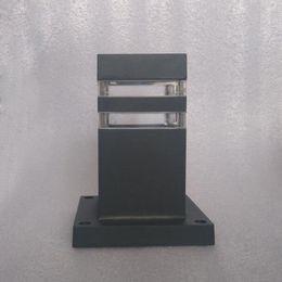 Waterproof Aluminium Pillar Lamp Europe Door Column Light Square Outdoor  Fence Lights Black 88mm Outdoor Pillar Lights For Sale