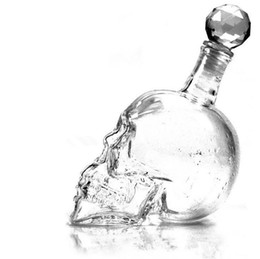 skull bar glasses Australia - Skeleton Wine Bottle Creative Crystal Skull Stopper Transparent Glass Pirate Beer Drinking Bottles Fashion Home Bar Tool 16 56hf F R