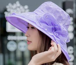 $enCountryForm.capitalKeyWord Canada - Hot sale Elegant Fashion Women's Church Hats For Women Flower Hat Summer Sun Hat Wide Brim Sea Beach caps