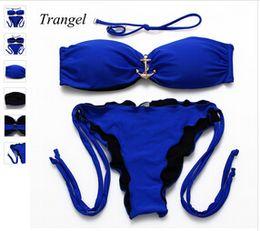$enCountryForm.capitalKeyWord Canada - New Ruffle Cheeky Bandeau Push Up Padding Bikini Set Deep Blue Lined Biquini Swimwear Halter Beach Swimsuits