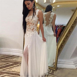 Barato Fadas De Vestido Branco Sexy-Long White Prom Dresses Side Slit Sexy See-Through Formal Party Vestidos Applique Lace Evening Dress Vestidos Curtos Formatura