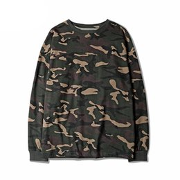 Ingrosso Maglietta Hip Hop Swag Camouflage High Street Urban Man manica lunga Maglietta Kanye West Hipster Camo Top Tees