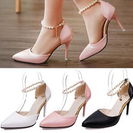 Ankle Chain Pumps NZ - 2016 Ziyuxiang Pearl Sandals Pointed Toe Stilettos High Heels Pearl Chain Ankle Strap ShoePumps 6 cm 9 cm New Summer Sexy Wedding Party