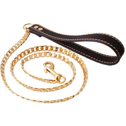 necklace dog collars chains Canada - 12mm 128cm gold Tone Stainless steel Dog Slip Collar Cuban Chain Dog Training Choke Collar Strong Traction Practical Chain Necklace