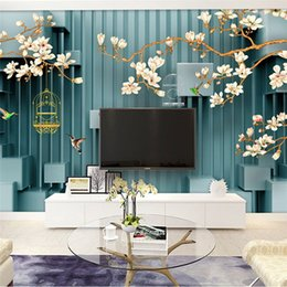 Discount vintage bird painting Extraordinary 3d 3d hand-painted flowers and birds TV backdrop simple modern living room sofa custom murals seamless wal