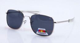 Ingrosso New Fashion AO Flyer MILITARY Uomo OCCHIALI DA SOLE ottici polarizzati in metallo 57 52mm oculos gafas lunette con scatola