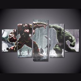 Canvas Prints Free Shipping Australia - 5 Pcs Set Framed Printed ironman vs hulk Comics Painting Canvas Print room decor print poster picture canvas Free shipping SK-050