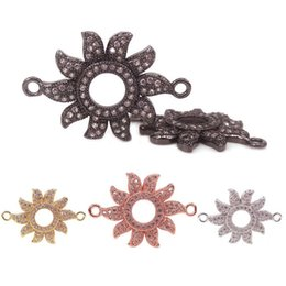 Micro Pave Connectors Australia - Gold Silver Black RoseGold & Micro Pave CZ Sunflower Connector Link Charms Pendants for Jewelry Making DIY Handmade Sun Drum Beads,26*18mm