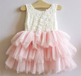 Barato Crianças Vestidos De Meninas Por Atacado-New Kids Girls Tutu Ruffles Lace Dress Bordado Flower Mesh Party Pink Color Dress para 2-7years Baby Girls Wholesale 5pcs / lot