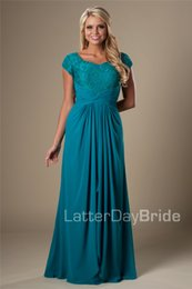 Barato Teal Chiffon Dress Lace Cap Sleeve-Teal Vintage Lace Chiffon Modest Bridesmaid Vestidos 2016 com mangas Cap Long Floor Templo Wedding Party Dresses Maids of Honor Vestidos