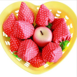 Clothes free shipping dhl online shopping - DHL Portable Cute Strawberry Bags Eco Reusable Shopping Bag Tote Folding Foldable Bag