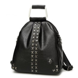 $enCountryForm.capitalKeyWord Canada - Hot Punk style hand X Tote ladies rivet shoulder bag Backpack bag Cowhide leather bags fashion students school bags