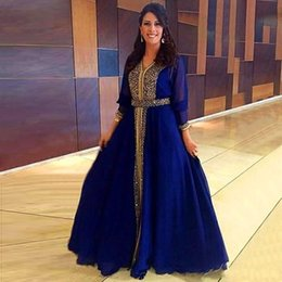 White Mid Length Evening Dresses Canada - 2016 Caftan Long Sleeves Muslim Evening Dresses Beaded Sequins A Line Floor Length Mid East Dubai kaftan Gracefull Royal Blue Prom Gowns