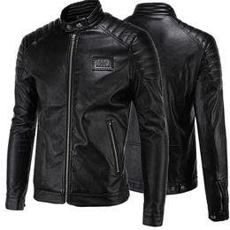 Black Coats Pu Sleeves Canada - Short Black 5XL Jacket For Mens PU Leather Slim Mens Jacket Coats Stand Collar Autumn Wild Motorcycle Long Sleeve Overcoat Men J160814