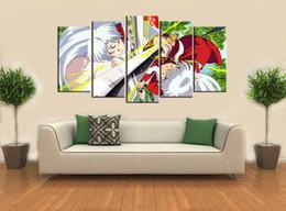 $enCountryForm.capitalKeyWord Canada - 5pcs set Wall Art Picture:Japanese Anime Inuyasha and Sasyomaru Spray Painting on Canvas Unframed Landscape Print Wholesale Home Decoration