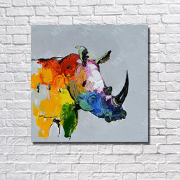 Hand Cartoon Canada - Top quality cartoon animal wall art pictures hand painted cheap modern canvas art rhinoceros not framed picture wild animal oil painting