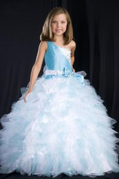 Robes De Princesse Étonnantes Pas Cher-One-shoulder Princess Flare Impressionnant nouvelle robe de bal glamour Robes fille fleur Organza Girl's Pageant Dress Livraison gratuite