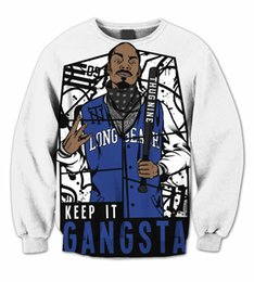 Sweatshirts Gangsta Pas Cher-Gros-Real USA Taille Gangsta Snoop Dogg 3D Sublimation Sweatshirt Crewneck Plus Size