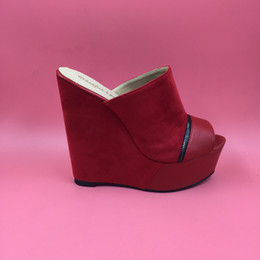 $enCountryForm.capitalKeyWord Canada - Red Suede Women Sandal Wedge Slipper Platform Open Toe Women Shoes Slides Wedges Shoes Ladies Zipper Decorated Open Heel Nubuck Leather 2016