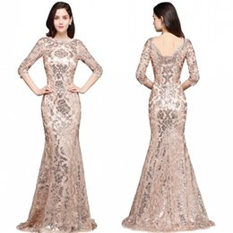 Special occaSion dreSSeS full length online shopping - 2018 Special Design Rose Gold Designer Occasion Dresses Mermaid Long Sleeves Full Sequins Lace Evening Dress Luxury Prom Party Gowns CPS634