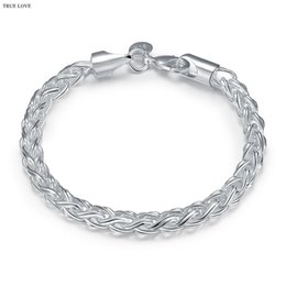 China 925 sterling silver plated twisted circle chain bracelet Fashion Cool Men's Jewelry free shipping good quality and low price cheap silver twisted bracelet suppliers