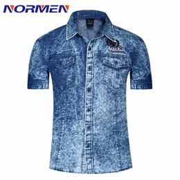 7af3672dd0e Wholesale-2016 New Spring Summer Style Men s Denim Shirts Short Sleeve  Casual Shirt For Men 100% Cotton Breathable Comfortable Jeans Shirt