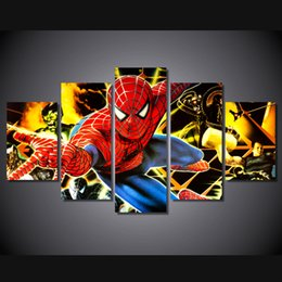 Canvas Prints Free Shipping Australia - 5 Pcs Set Framed Printed friendly neighborhood spiderman Painting Canvas Print room decor print poster picture canvas Free shipping ny-4912