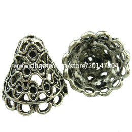 Chinese  19049 8pcs Vintage Silver Hollow Wind Line Tassel End Cap Filigree Retro Jewelry manufacturers