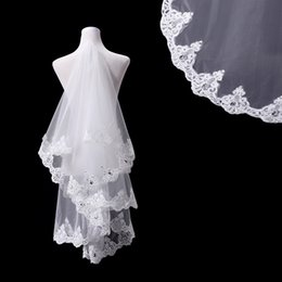 shine accessories Canada - 2017 European Style Wedding Veils 1.5m White Bridal Veils Soft Tulle with Applique Edge Shining Beads Wedding Accessories