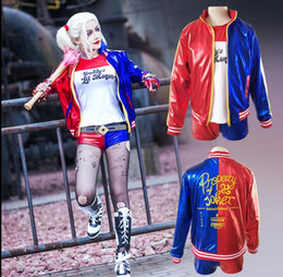 $enCountryForm.capitalKeyWord Canada - Suicide Squad Harley Quinn Cosplay Costume Girls Halloween JOKER Costume Jacket T-shirt Shorts Suit Set