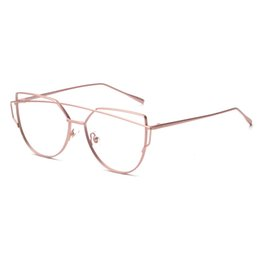 daff615180ab0 FUE Women Cat Eye Glasses Metal Eyeglasses Frame With Glasses Sexy Girls  Eyewear Oversize Plain Mirror Sunglasses Summe RA081