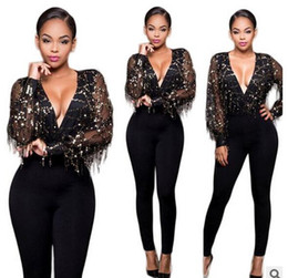 Maillots Minces Pas Cher-Women Rompers Fashion deep v tassel sequins casual playuit Rompers manches longues <b>slim Overalls</b> Body club Lady Jumpsuits Vêtements