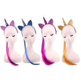 $enCountryForm.capitalKeyWord UK - Hair Sticks Unicorn Horn Headband With Wig braids Fancy Dress Christmas Party Girl Lady Cosplay Glitter Ear Hairband filler bag kid heddress