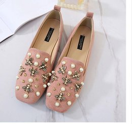 leisure wind shoes 2019 - Han edition British wind pearl shoes female 2017 new square flat tide leisure soft bottom doug ladle female shoes cheap