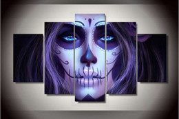 Painting Faces Australia - Day of the Dead Face purple woman figure painting 5 pcs canvas painting for home decor 2016 new style free shipping