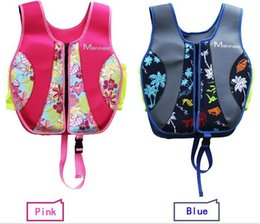 Barato Miúdos Trajes De Natação Inflável-Atacado 2.5mm Neoprene Outdoor Summer Swimming Adjustable Inflatable Children's Kids Life Vest Jacket Bathing Suit 5-7 Years Old