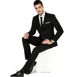 Chinese  Handsome men two grain of buckle pure black suit formal wedding men classic two-piece suit wedding dress suit(jacket + pants) manufacturers