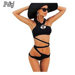 Barato Tanga Usa Atacado-Atacado- Pj Stylish One Piece Swimsuit Mulheres Thong Swimwear Female Cut Out Bandagem Sexy Beach Bathing Tits High Cut Monokini Beach Wear