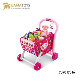 46fcb20bc92 Most Popular Mini Supermarket Hand Trolleys Kids Girl Pretend Play Plastic  Shopping Cart Toy Free Shipping