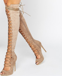 Taupe High Heels UK - Sexy Women Black Taupe Suede Peep-toe Thigh High Lace Up Boots Cutouts High Heels Over The Knee Boots
