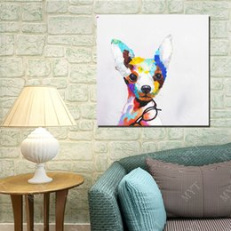 $enCountryForm.capitalKeyWord Canada - Glasses Dog Oil Painting Abstract Modern Canvas Wall Art Living Room Decor Picture Hand painted Oil Painting on Canvas