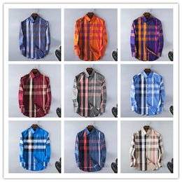 Robes Longues Longues Et Décontractées Pas Cher-Wholesale-New Arrival 2017 Spring Men Shirt Lattice Design Style coréen Casual Mens Plaid Chemises Man à manches longues 100% coton chemises habillées