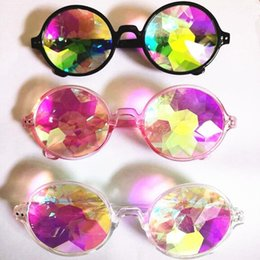 Chinese  Fashion Geometric Kaleidoscope Glasses Rainbow Rave Lens Bling Bling Prism Crystal Diffraction Sunglasses Black Pink Clear CC605 manufacturers