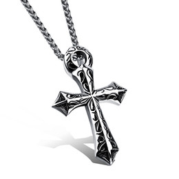 titanium cross chain man Canada - The new titanium man Pendant with chain containing large domineering simple cross sent her boyfriend N976