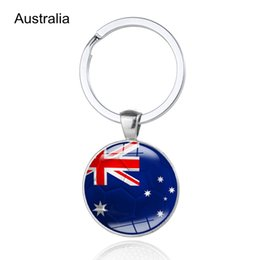Spain bagS online shopping - World Cup Spain Flag Football Keychains Australia Uruguay Glass Cabochon Car Key Bag Accessories World Cup Countries Flags Keyings
