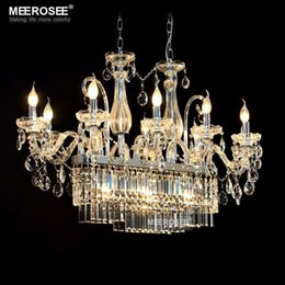 gorgeous rectangle crystal chandelier light fixture 13 lights glass chandelier lighting lustre hanging dining room drop lamp - Discount Chandeliers