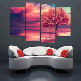 $enCountryForm.capitalKeyWord Canada - Modern red tree 4PCS paintings beautiful landscape Wall painting for home decorative wedding decoration art pictures No framed