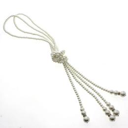 $enCountryForm.capitalKeyWord Australia - Hot Popular Elegant White Artificial Pearls Knot Long Sweater Chain Necklace #R571