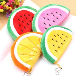 Discount fruit bags wholesale - Wholesale- 1 pcs lovely Cartoon fruits flannelette zero wallet childen girl boy purse, lady coin bags wallets Pouch gift
