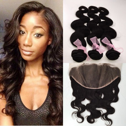 russian hair lace closure Canada - Brazilian Hair Malaysian Freestyle 13x6 Full Frontal Lace Closures and Hair Peruvian Lace Frontal Body wave with 3 Bundles Hair